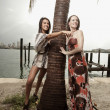 Stock Photo: Two models posing by a palm tree