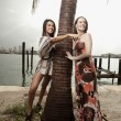 Two models posing by a palm tree — Stock Photo #2590854