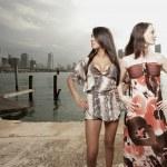 två attraktiva modeller tittar bort — Stockfoto