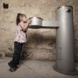Child by the water fountain — Stock Photo #2594352