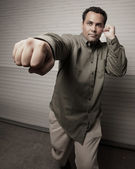 Man punching his fist — Stock Photo