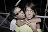 Woman being molested — Stock Photo