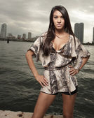 Latina model by the bay — Stock Photo