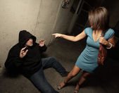 Victim defeating the criminal — Stock Photo