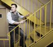 Man on a staircase — Stock Photo