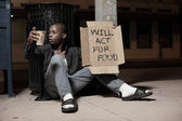 Homeless actor — Stock Photo