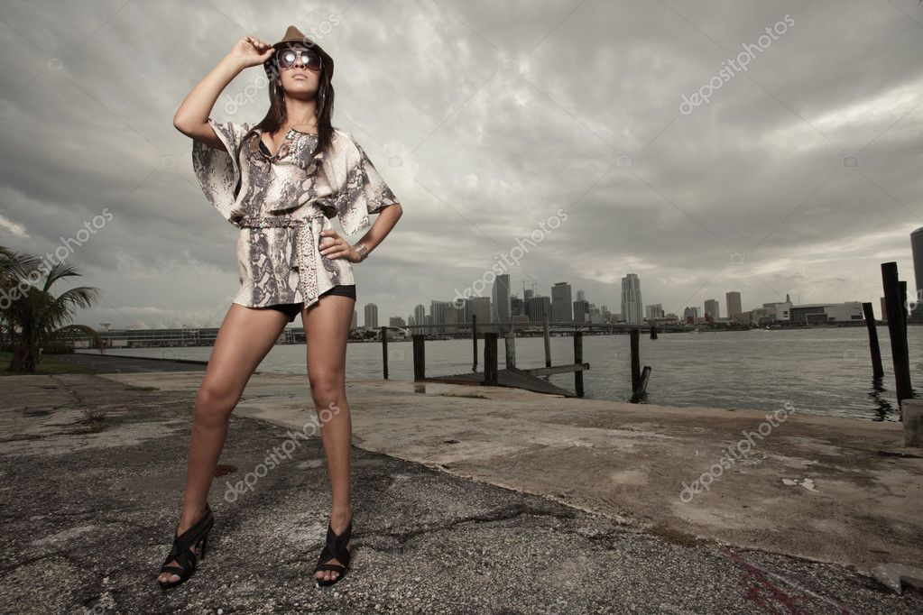 Image of a fashionable young woman posing by the bay — ストック写真 #2590878