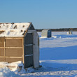 Ice Fishing Huts - Stock Photo
