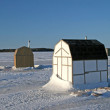 Stock Photo: Ice Fishing Huts