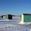 Stock Photo: Ice Fishing Huts 3