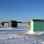Ice Fishing Huts 3 — Stock Photo