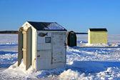 Ice Fishing Huts 2 — Stock Photo