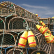 Lobster Traps and Buoys - Stock Photo