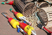 Lobster Traps & Boys — Stock Photo