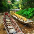 Stock Photo: Boats beside a Borneo river