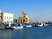 Docked fisherman boats — Stock Photo
