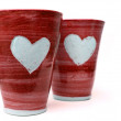Red love mugs — Stock Photo