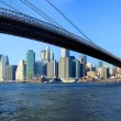 Brooklyn bridge and lower Manhattan — Stock Photo