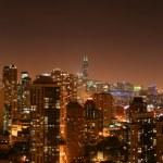 Chicago aerial night pano — Stock Photo