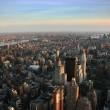 Aerial view over east lower Manhattan - Stock Photo