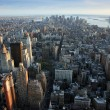 Aerial view over lower Manhattan - Stock Photo