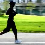 Jogging panning blur silhouette — Stock Photo #2468386