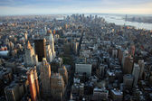 Aerial view over lower Manhattan — 图库照片