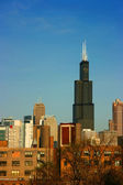 Sears tower from east on blue sky — Stock Photo