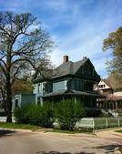 Wooden cyan house in Oak Park — Stock Photo