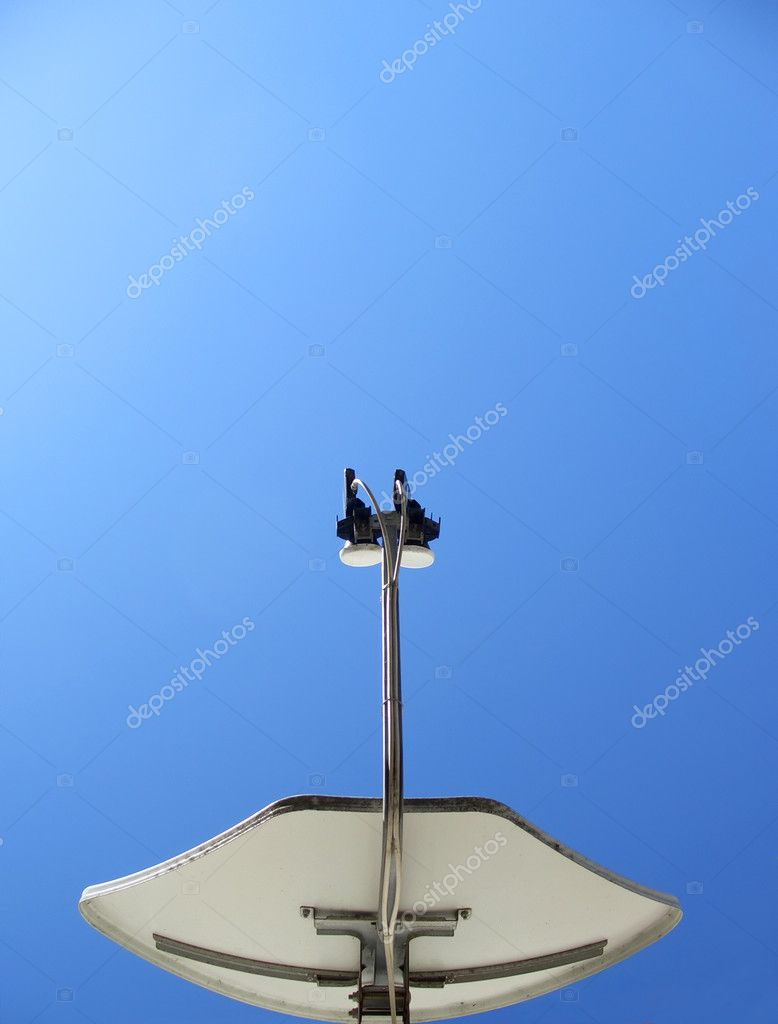 Dual feed satellite dish receiver seen from below, vertical — Stock Photo #2463308
