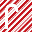 Candy cane silhouette on red stripes — Stock Photo