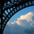 Under Eiffel tower at sunset — Stock Photo