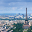 Stock Photo: eiffel tower and la defense aerial