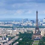 Eiffel tower and la Defense aerial — Stock Photo