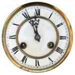 Eski saat yüzünü izole — Stok fotoğraf