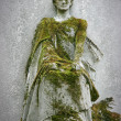 Statue covered with moss - Stock Photo