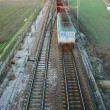 Train motion blur from above — Stock Photo
