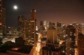 Chicago downtown aerial night view — Stock Photo