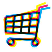 Out of register shopping cart — Stock Photo