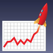 Business chart skyrocketing — Stock Photo