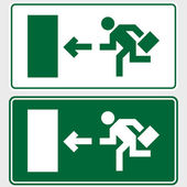 Emergency exit sign with business man — Stock Photo