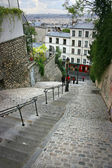 Staircase down Montmartre hill in Paris, France — Stock Photo