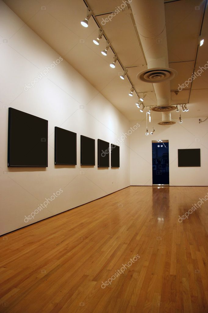 Contemporary museum gallery interior, blank paintings and photographs — Stock Photo #2470623