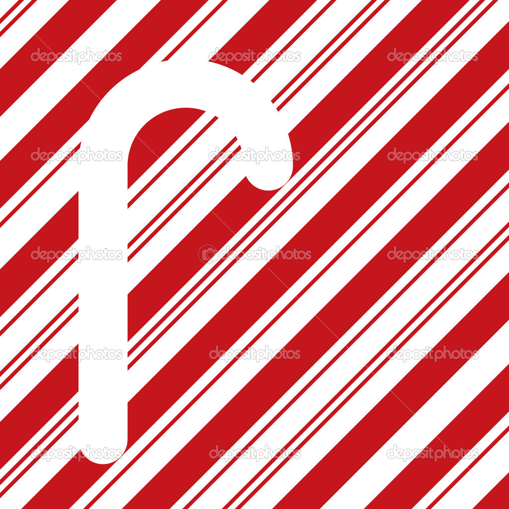 Candy cane silhouette on red stripes — Stock Photo ...