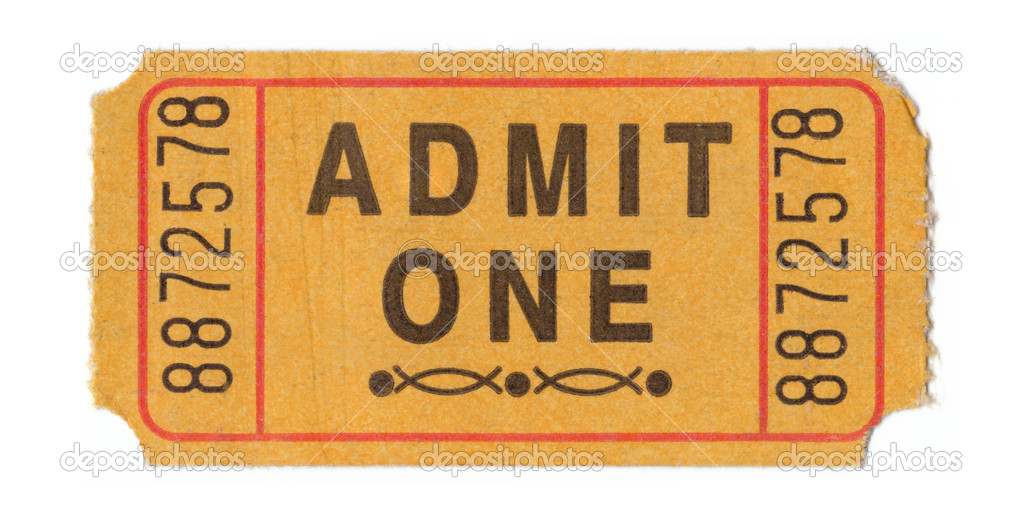 Generic vintage admit one ticket close up — Stock Photo #2480046