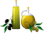 Bottle of oil and branch of olive — Stock Vector