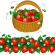 Basket of strawberries — Stock Vector