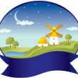 Countryside with windmill - Imagen vectorial