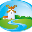 Rural background with windmill - Stock Vector