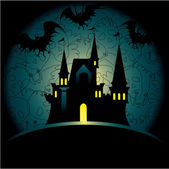 Halloween invitation with castle — Stock Vector